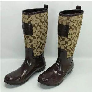🆕Coach signature brown monogram ☔️Rain boots,SZ 7